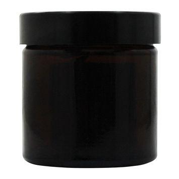 Amber Glass Cream Jar with Black Screw On Lid Brown - 60 ml.