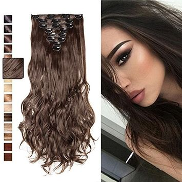 [PROMO] Long Straight Curly Wavy Full Head Clip in Hair Extension 8 Pcs 18 Clips Real Thick Heat Resistance Synthetic Hairpiece for Women Girls Black Brown Blonde (Ash Blonde2, 17