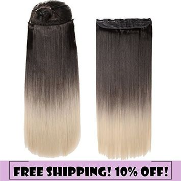 S-noilite Dip Dye Clip in Hair Extensions Ombre Two Color Long Thick Curly Wavy Straight 3/4 Full Head Synthetic Hairpiece Japanese Kanekalon Fiber Trendy Fashion (Dark Brown to Bleach Blonde)