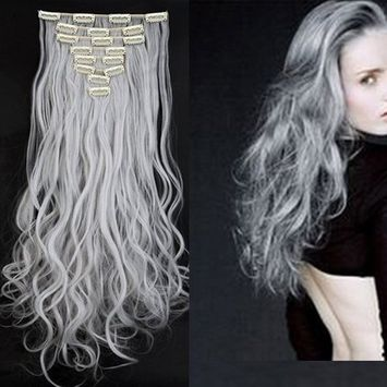 S-noilite 17-26 inches(43-66cm) 8pcs Long Full Head Clip in Hair Extensions Sexy Lady Fashion Choice 13 Colors (24