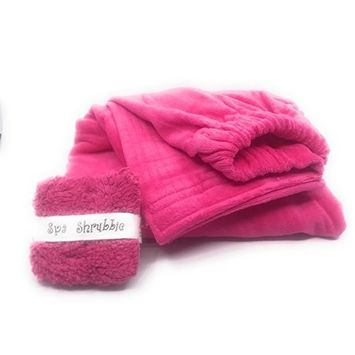 Scrubbie Shower Set-Wrap Velour Cotton Turkish Towel With Matching Spa Scrubbie