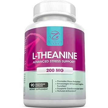 L Theanine 200mg - Stress Relief + Anti Anxiety Support & Sleep Aid - Natural Mood Boost & Antioxidant Supplement from Green Tea - Zenwise Health - 90 Vegetarian Capsules