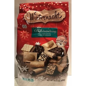 Winternacht Waffelmischung, Crispy Wafers Partially Coated with Chocolate 14.11 oz