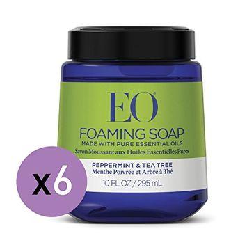 EO Peppermint Tea Tree Foaming Hand Soap, 10 Fl. Oz. Foam Cartridge (6 Pack)