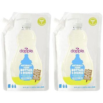 DAPPLE Baby Bottle and Dish Liquid Refill, Fragrance Free Liquid Soap, Baby Dish Soap, Baby Dish Liquid, Bottle and Dish Liquid Cleaner, Plant-Based Formula, 34 Fluid Ounces (Pack of 2)