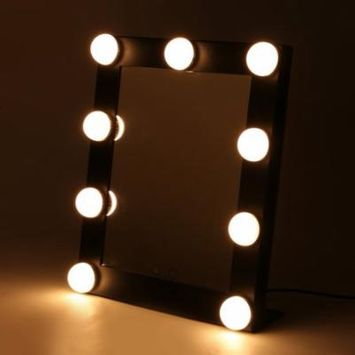 Portable Touch Screen 9 LEDs Bulb Lighted Tabletop Beauty Makeup Bath Mirror Black