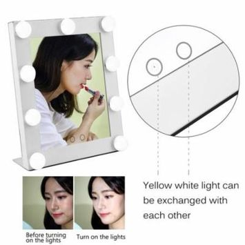 2018 New Upgraded Portable Led Bulb Lighted Makeup Mirror With Dimmer Stage US Plug Mirror With Lights Beauty Mirror Decorative Mirror(White)