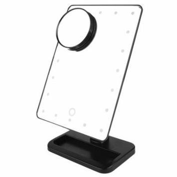 MR-L207A 20 LED Lightweight Adjustable Brightness Makeup Desktop Mirror + Suction Cup 10X Magnification Mirror