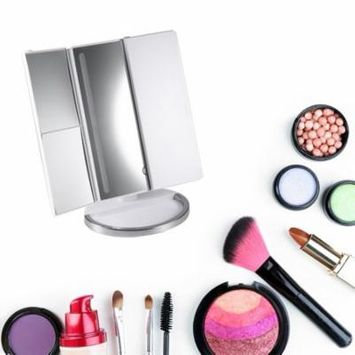 Makeup 3-folding Mirror with LED Light 1X/2X/3X/10X Magnifier Mirror MR-L3013A Holiday Gifts, white,