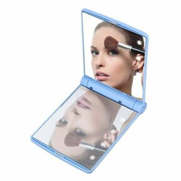 Folding Portable Make Up Mirror Lady Cosmetic Mirror Built-in LED Bulbs Mirror Holiday Gifts, blue,