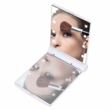 Folding Portable Make Up Mirror Lady Cosmetic Mirror Built-in LED Bulbs Mirror Holiday Gifts, white,
