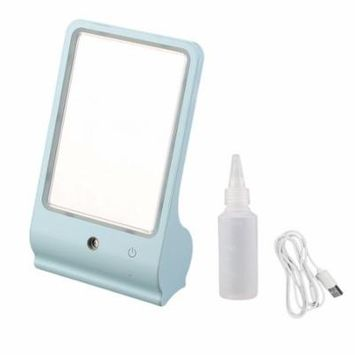 Portable Compact Makeup Mirror Women Lady Cosmetic Mirrors With Light Holiday Gifts, blue,