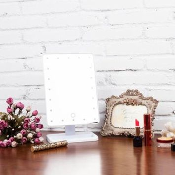 Beauty Cosmetic Make Up Illuminated Desktop Stand Mirror With 20 LED Light Holiday Gifts, White,