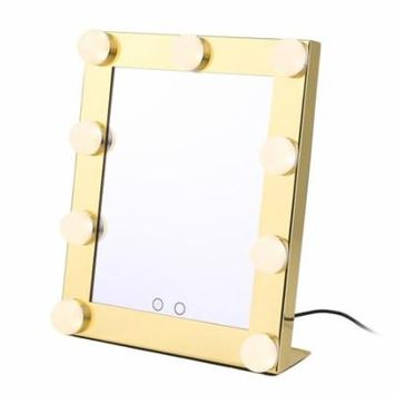 LIMSWJ Portable Touch Screen 9 Leds Bulb Lighted Tabletop Beauty Makeup Bath Mirror On Clearance