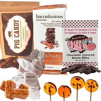Extreme Gourmet Bacon Candy Sampler Gift Pack (5pc Set) - Pig Candy, Bacon Fudge, Chuao Maple Bacon Milk Chocolate Bar, Maple Bacon Lollipops & Dark Chocolate Bacon Bites