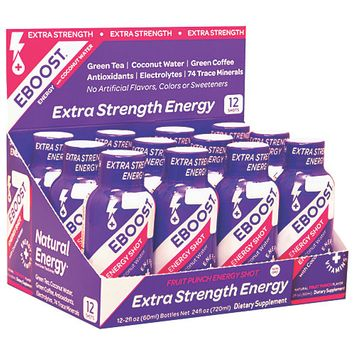 Natural Energy Shot Fruit Punch Extra Strength EBOOST 12 (2 oz ) fl oz Box