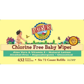 Earth's Best TenderCare Chlorine Free Baby Wipes Refill Pack - 432