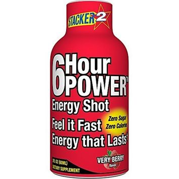 Stacker 2, 6 Hour Power Energy Shot - Very Berry, 2-Ounce Bottle (Pack of 12)