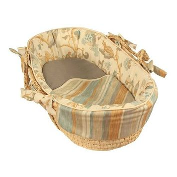 Hoohobbers Tailored Moses Basket, Maze Blue