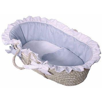 Hoohobbers Ruffled Moses Basket, Baby Blue