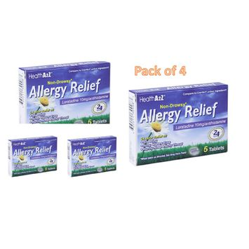 Non-Drowsy, Allergy Relief 24hr Sneezing Itchy Watery Eyes 10mg, 5ct (Pack of 4)