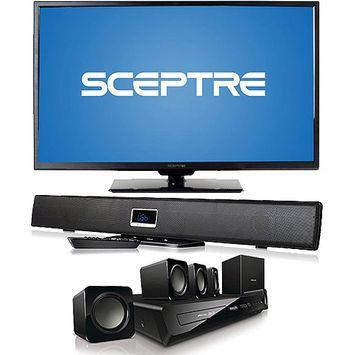 Sceptre Inc. Sceptre X325BV-FMDR 32.0-inch Ultra Slim LED TV - 1080p - 60 Hz - 30000: 1 - 250 cd/m2 - 6.5 ms - HDMI, VGA, USB - Metal Brush