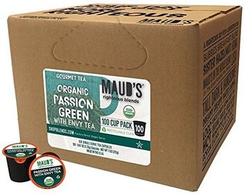 Maud's Coffee Maud's Gourmet Tea Pods - Passion Green with Envy Tea, 100-Count Recyclable Single Serve Pods - Carefully Sourced & Blended - Sealing in the Freshness - Kcup Compatible, Including 2.0