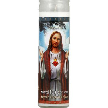 St. Jude Candle Company Sacred Heart of Jesus White Candle, (Pack of 12)