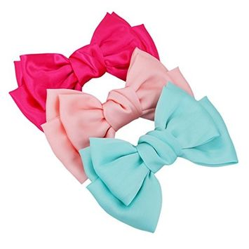 STHUAHE 3 PCS Candy Color Women Girls Hair Clip,Sweet and Lovely Style Double-Deck Chiffon Superlarge Bowknot Hairclips Hair Band Headband...