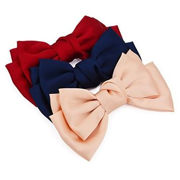 STHUAHE 3PCS Women Girls Hair Clips, Fashion and Lovely Double-Deck Chiffon Superlarge Bowknot Hairclips Hair Band Headband Headwear Headwrap Hair Accessories by Beautful Hair