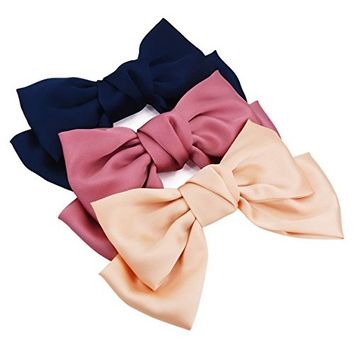 STHUAHE 3 PCS Simple and Fashion Women Girls Hair Clip,Sweet and Lovely Style Double-Deck Chiffon Superlarge Bowknot Hairclips Hair Band Headband Headwear Headwrap Hair Accessories