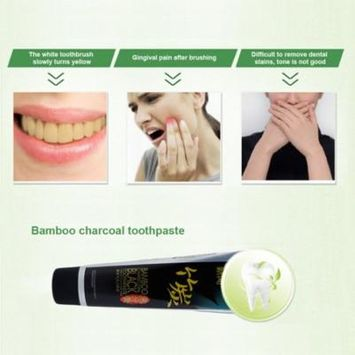 OUTAD 60g Bamboo Activated Charcoal Toothpaste + 1 Pcs Natural Bamboo Toothbrush