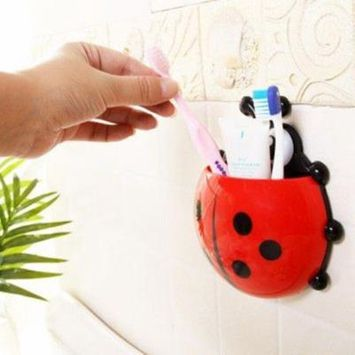 Oie Loves Cute Ladybug Suction Toothbrush Holder Toothbrush Toothpaste Makeup Brushes Holder Good Gift For Children