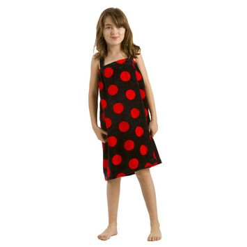 Bath Terry polka Wrap for girlswith Velcro, Black Red, MEDIUM