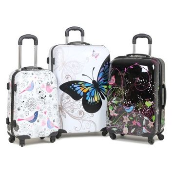 Rock Miro Printed Hardshell 55cm Ryanair Compliant Four Wheel Spinner Case in Multi Coloured Butterflies Print