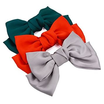STHUAHE 3 PCS Elegant and Fashion Women Girls Hair Clip,Sweet and Lovely Style Double-Deck Chiffon Superlarge Bowknot Hairclips Hair Band Headband Headwear Headwrap Hair Accessories