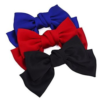 STHUAHE 3 PCS Elegant and Charming Women Girls Hair Clip,Sweet and Lovely Style Double-Deck Chiffon Superlarge Bowknot Hairclips Hair Band Headband Headwear Headwrap Hair Accessories