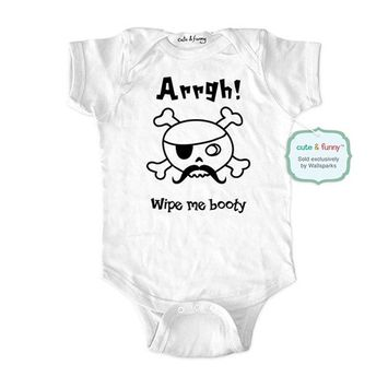 Arrgh wipe me booty - wallsparks cute & funny Brand - baby one piece bodysuit - Great baby shower gift!