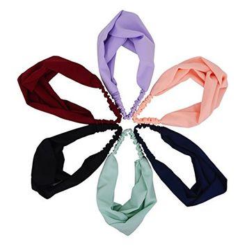STHUAHE 6 PCS Women Fashion Hairbands,Elastic Cross Hair Band Headband Headwear Headwrap Hair Accessories