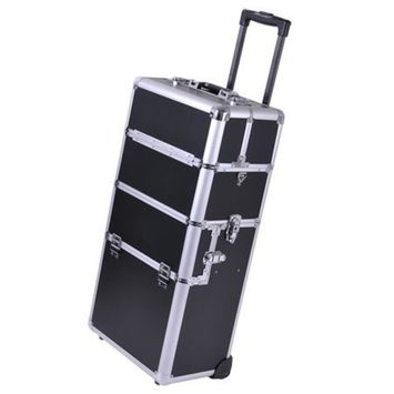 Aluminum Rolling Makeup Train Case with Black PVC Body by 999 Mega USA