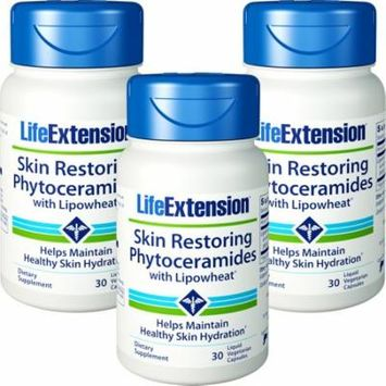Life Extension Skin Restoring Phytoceramides With Lipowheat 30 Liquid Vegetarian Capsules 3 Bottles