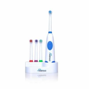 ***Discontinued***Wellness Oral Care AA Battery Powered Electric Toothbrush with Base and 3 Extra Heads