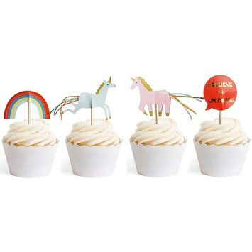 Unicorn Cupcake Toppers Rainbow Themed Party Decorative 24pcs Pink And Gold By GOCROWN