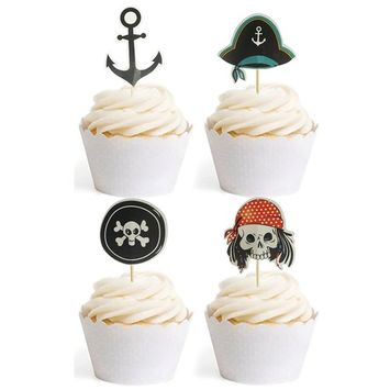 Pirate Flag Cupcake Toppers Pirate Themed Skull Party Cake Decorative 24pcs Black Anchor by GOCROWN