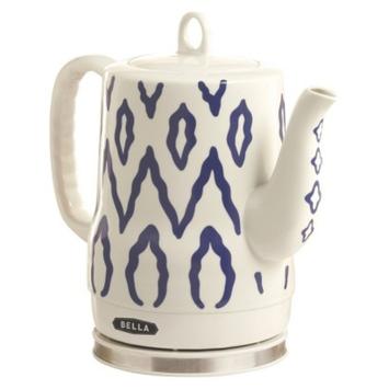 Bella Electric Ceramic Kettle, White with Blue Aztec Design