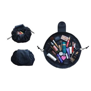 Lazy Cosmetic Portable Travel Bag/ Makeup Toiletry Organiser/ Pouch with Drawstring, Large Capacity & Waterproof for Women & Girls