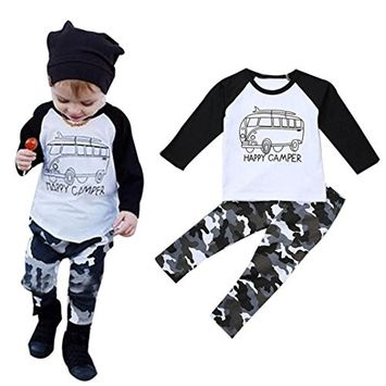 Efaster 1Set Toddler Baby Boy Long Sleeve Print T-shirt Tops+Pants Outfit Car Pattern Clothes