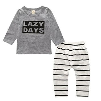 Efaster 1Set Infant Toddler Kids Baby Boy Girl T-shirt Tops+Pants Outfits Clothes