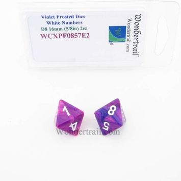 Wondertrail Products Violet Festive Dice with White Numbers D8 Aprox 16mm (5/8in) Pack of 2 Wondertrail
