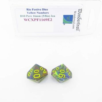 Wondertrail Products Rio Festive Dice with Yellow Numbers D10 Perc Aprox 16mm (5/8in) Pack of 2 Wondertrail